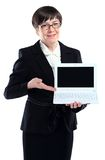 Business woman presenting white Stock Photography