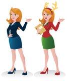 Business Woman Presenting-Xmas Ver. Royalty Free Stock Photos