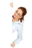 Business woman presenting your product. Royalty Free Stock Photography