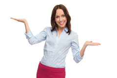 Business woman presenting your products Royalty Free Stock Photo