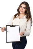 Business woman presents blank clipboard Royalty Free Stock Images