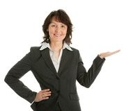 Business woman preseting a product Stock Photo