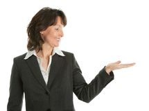 Business woman preseting a product Royalty Free Stock Photography
