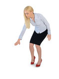 Business woman press something down. Isolated business woman press something down Stock Photo