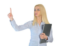 Business woman press something Stock Photo