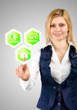 Business woman presses the menu icons smart home Stock Photography