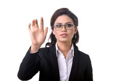 Business woman presses a touchscreen. With hand Stock Photography
