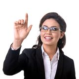 Business woman presses a touchscreen. With hand Stock Images