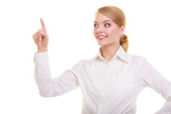 Business woman pressing button pointing isolated Royalty Free Stock Photos
