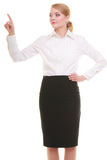 Business woman pressing button or pointing isolated Stock Photos