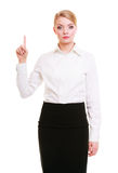 Business woman pressing button or pointing isolated. Business woman point finger empty copy space, businesswoman showing side, concept advertisement product push Royalty Free Stock Photography