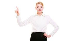 Business woman pressing button or pointing isolated Royalty Free Stock Images