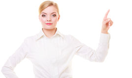 Business woman pressing button or pointing isolated Stock Photo