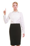 Business woman pressing button or pointing isolated. Business woman point finger empty copy space, businesswoman showing side, concept advertisement product push Stock Image