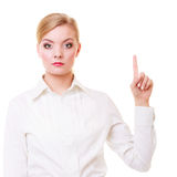 Business woman pressing button pointing isolated Stock Images