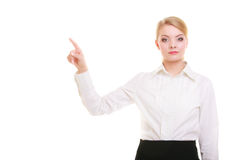 Business woman pressing button pointing isolated Royalty Free Stock Images