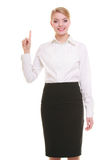 Business woman pressing button or pointing isolated Royalty Free Stock Image