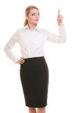 Business woman pressing button or pointing isolated Stock Photography