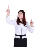 Business woman pressing button or something Stock Image