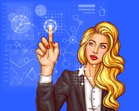 Business woman pressing on virtual holographic screen. Business woman pressing the index finger on the touchscreen, virtual holographic screen, control panel Stock Image