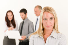 Business woman pretty with colleagues discussing Stock Photo