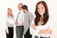 Business woman pretty with colleagues discussing Royalty Free Stock Image