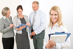 Business woman pretty with colleagues discussing Royalty Free Stock Photography