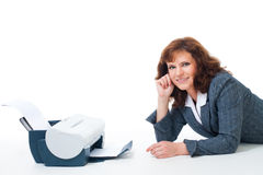 Business woman with printer Stock Photos