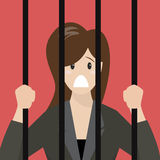 Business woman in prison Royalty Free Stock Photo