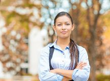 Business woman professional isolated outside indian fall background Royalty Free Stock Images