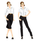 Business woman or professor in formal white blouse, black pants and black skirt. Royalty Free Stock Photography