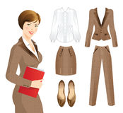 Business woman or professor in tweed suit. Royalty Free Stock Photos
