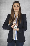 Business woman protects your property, insurance Stock Photo