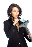 Business woman pull money from vacuum cleaner Royalty Free Stock Image