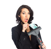 Business woman pull money from vacuum cleaner Stock Photos