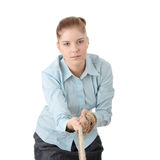 Business woman pulling the rope Royalty Free Stock Image