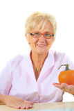 Business Woman With Pumpkin Stock Images