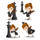 Business woman push chess Stock Image