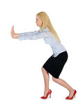 Business woman push something Stock Images