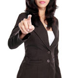 Business woman push to blank virtual screen Royalty Free Stock Photo