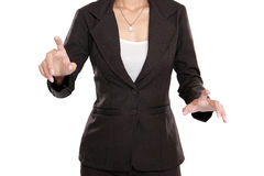 Business woman push to blank virtual screen Stock Images