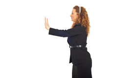 Business woman push the wall Royalty Free Stock Images