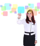 Business woman pushing button on a touch screen Stock Photography