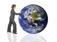 Business woman pushing the earth Stock Image