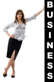Business woman pushing something Royalty Free Stock Photos