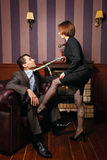 Business woman put pressure on partner. Royalty Free Stock Photos