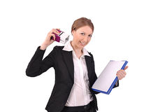 Business woman puts a stamp on documents Royalty Free Stock Photo