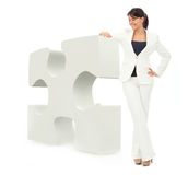 Business woman with a puzzle Royalty Free Stock Photography