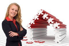 Business woman - Puzzle house - Solutions royalty free illustration