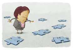 Business woman puzzles. Illustracion of Business woman puzzles Royalty Free Stock Photography